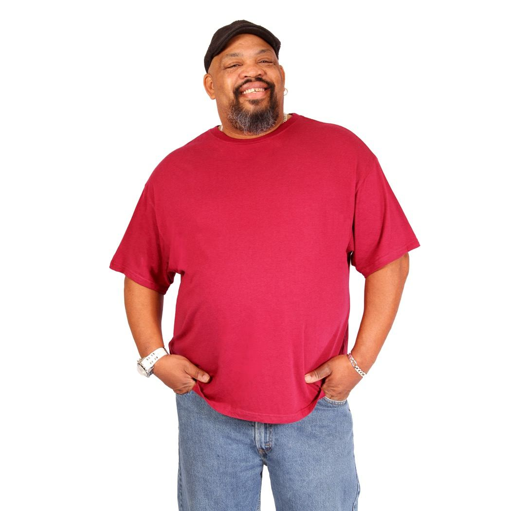 Big Boy Bamboo Big and Tall Crew Neck T-Shirt in Wine