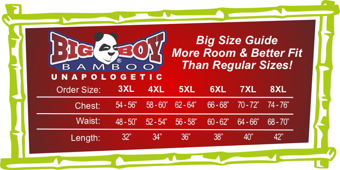BigBoyBamboo Big and Tall Size and Fit Guide
