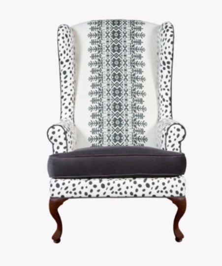 Black and white traditional tribal modern wingback sitting chair modern home traditional decor