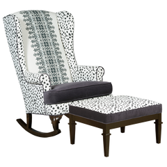 Black and white traditional tribal modern wingback sitting chair modern home traditional decor embroidered fabric velvet seating