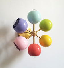 pink lilac mint green yellow coral and brass lighting mid-century design light fixture modern