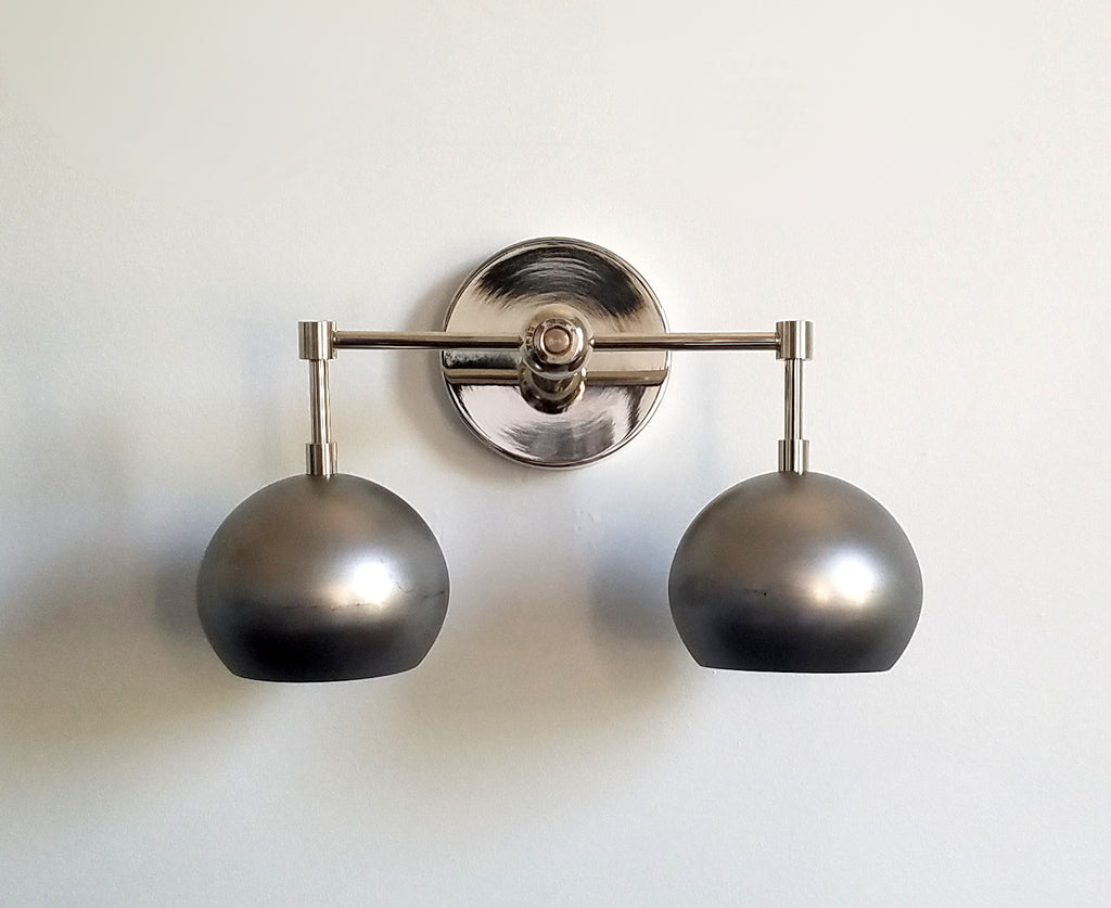 Chrome and steel mixed metal wall fixture two lights