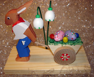Handmade Wooden Easter Bunny with Egg Cart from Germany