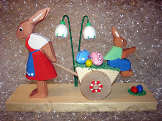 Handmade Wooden Mom & Son Easter Egg Cart from Germany