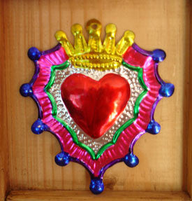 Mexican Tin Repousse Hearts