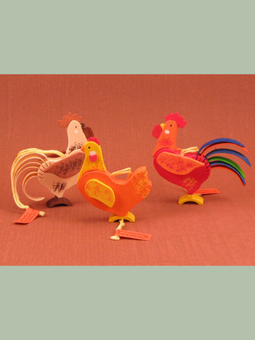 German Christmas Ornament: Hens & Roosters
