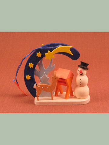 German Christmas Ornament: Deer & Snowman