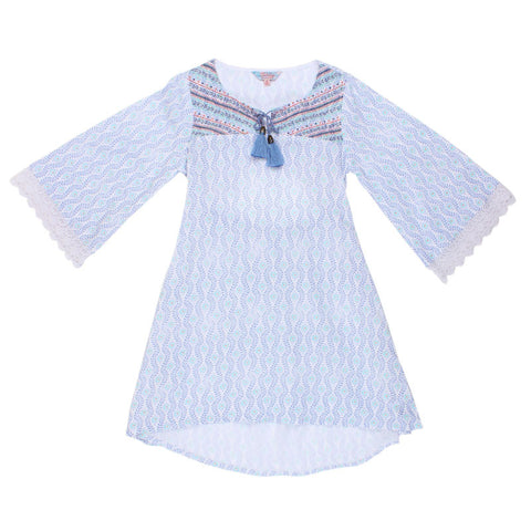 TAHLIA BY MINIHAHA Santa Monica Lace Back Trim Girls Dress - Blue Print