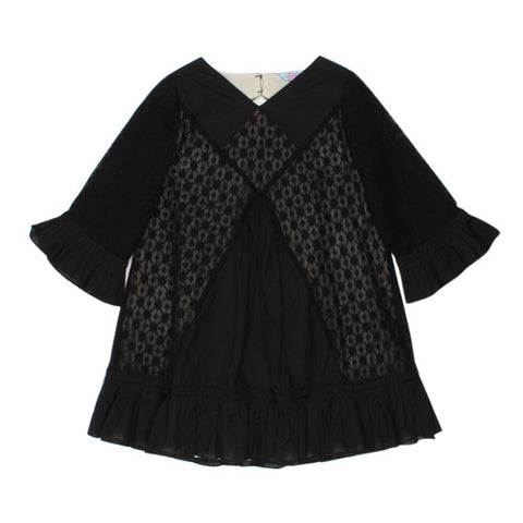 TAHLIA BY MINIHAHA Woodstock Lace Dress - Black - Girl 6-14
