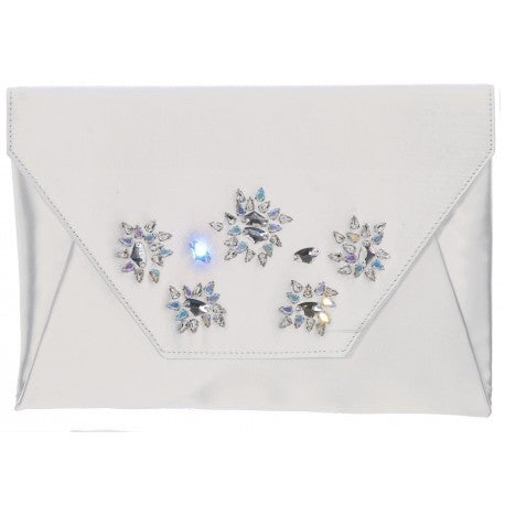 Erin White Flap Clutch With Embellishment