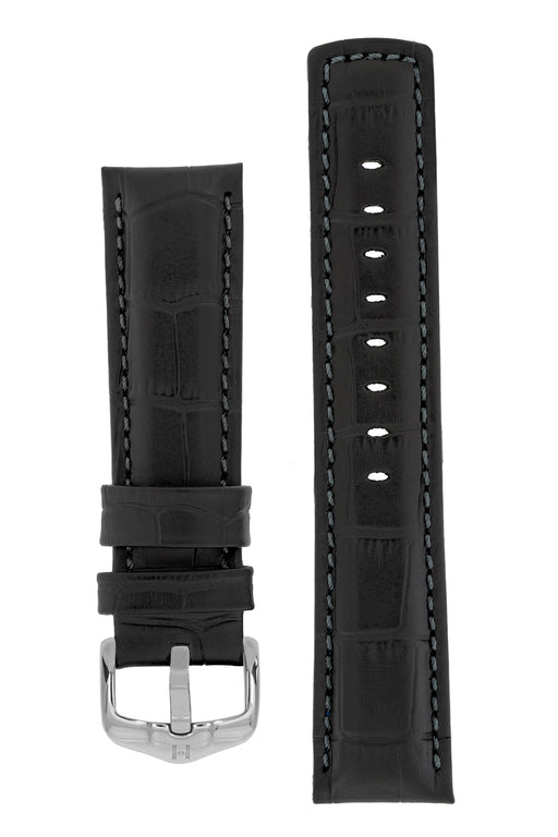 Hirsch GRAND DUKE Water-Resistant Alligator Embossed Sport Watch Strap in BLACK / BLACK