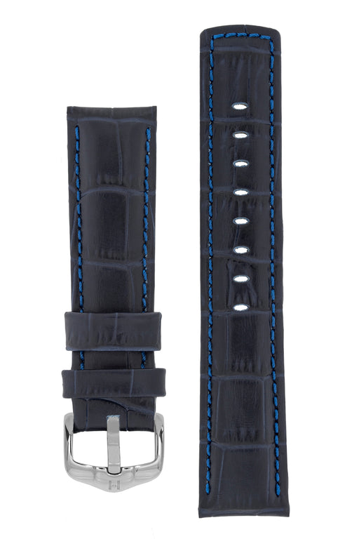 Hirsch GRAND DUKE Water-Resistant Alligator Embossed Sport Watch Strap in BLUE