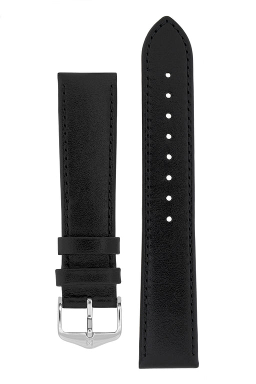 Hirsch OSIRIS Calf Leather Watch Strap in BLACK