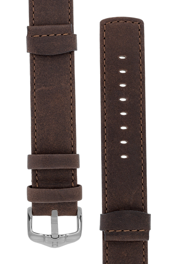 Hirsch REBEL Leather NATO-Style Watch Strap in BROWN