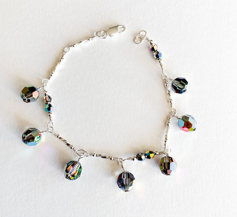 Sterling Silver Bracelet with Deep Forest Swarovski Crystal Charms