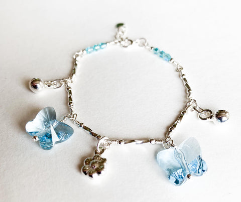 Sterling Silver Bracelet with Swarovski Butterfly Crystals & Charms