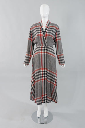 Norma Kamali Gauze Plaid Wrap Dress