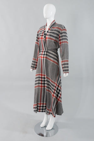 Norma Kamali Gauze Plaid Wrap Dress Front Side