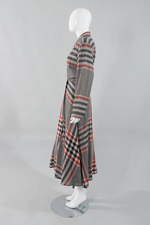 Norma Kamali Gauze Plaid Wrap Dress Side