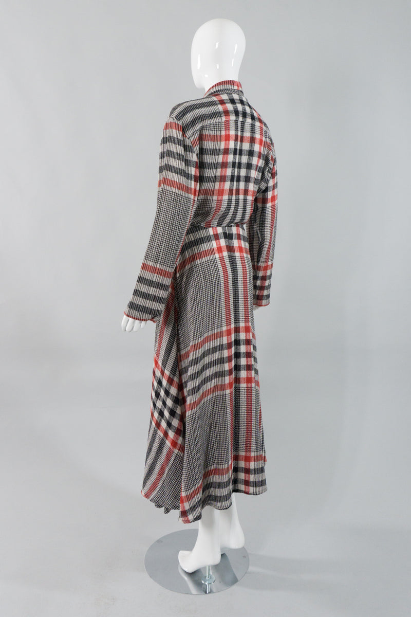 Norma Kamali Gauze Plaid Wrap Dress Side Back