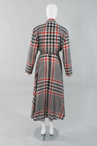 Norma Kamali Gauze Plaid Wrap Dress Back