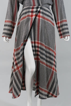 Norma Kamali Gauze Plaid Wrap Dress Opening