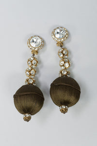 Rhinestone & Silk Vintage Ball Drop Earrings