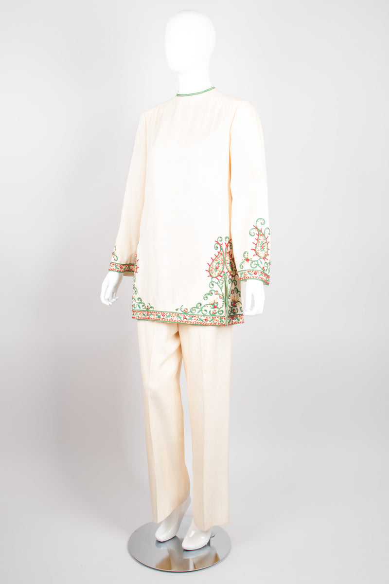 Harmay Embellished Indian Paisley Raw Silk Ethnic Tunic & Pant Set