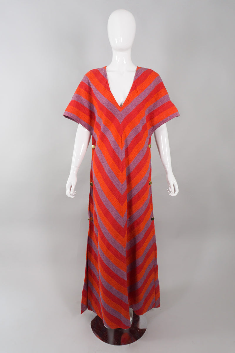 Bullocks Vintage Chevron Striped Knit Snap Caftan