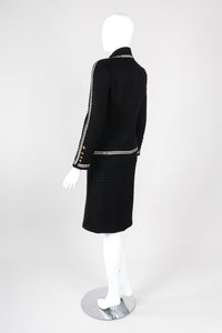 Recess Los Angeles Vintage Chanel Textured Rib Zig Zag Boucle Wool Jacket & Skirt Set