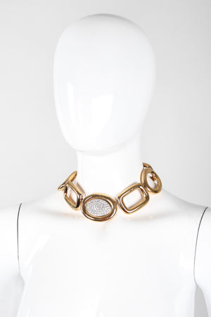 Recess Los Angeles Vintage Givenchy Gold Crystal Oval Collar Choker Necklace & Earring Set
