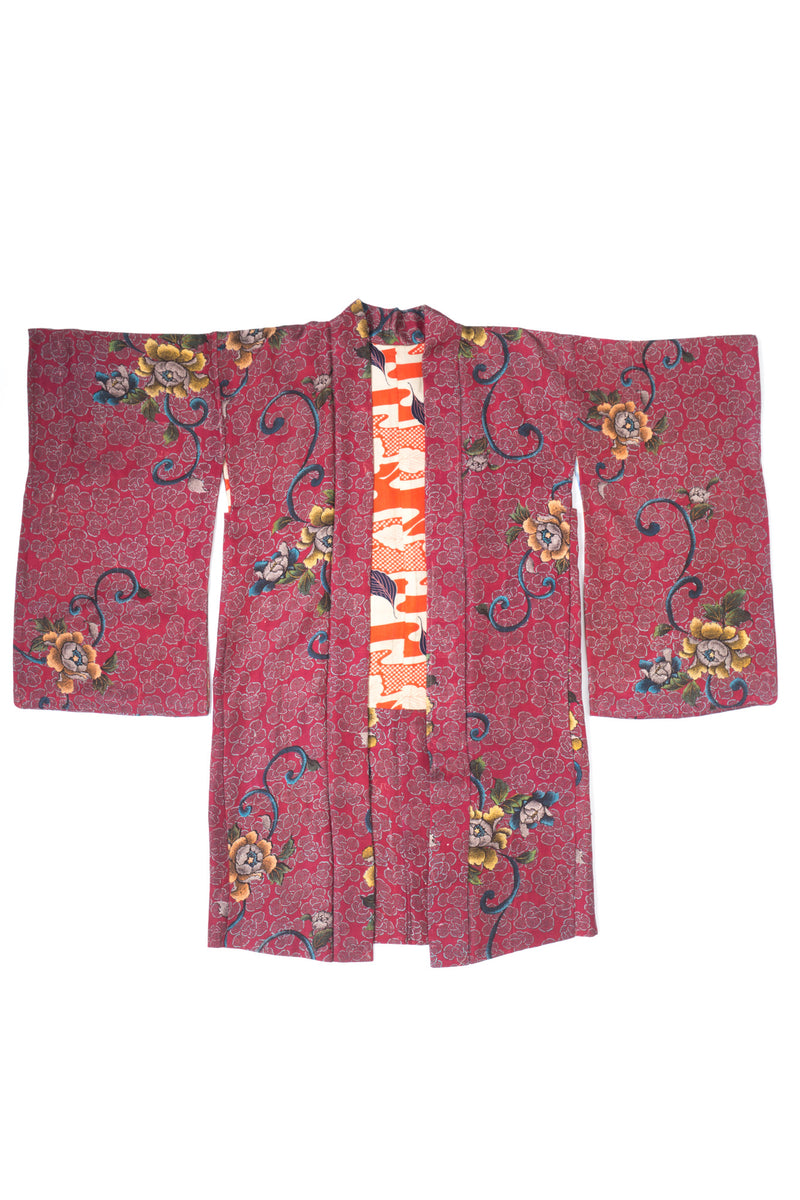 Japanese Floral Rose Blossom Gucci Style Vintage Kimono