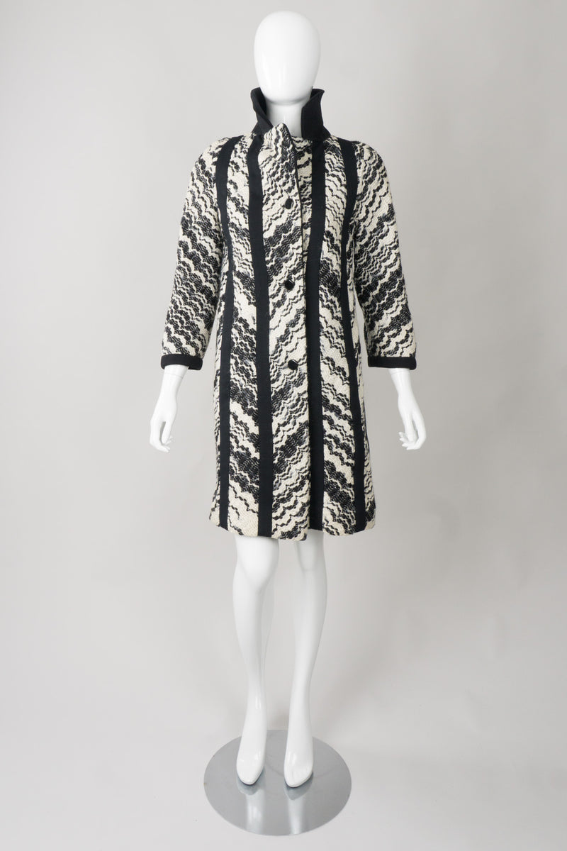 Lilli Ann Knits Vintage Embroidered Wavy Chevron Stripe Coat