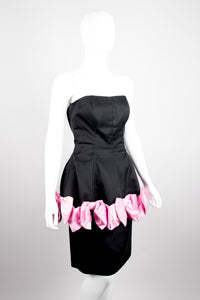 Victor Costa Strapless Peplum Bow Cocktail Dress