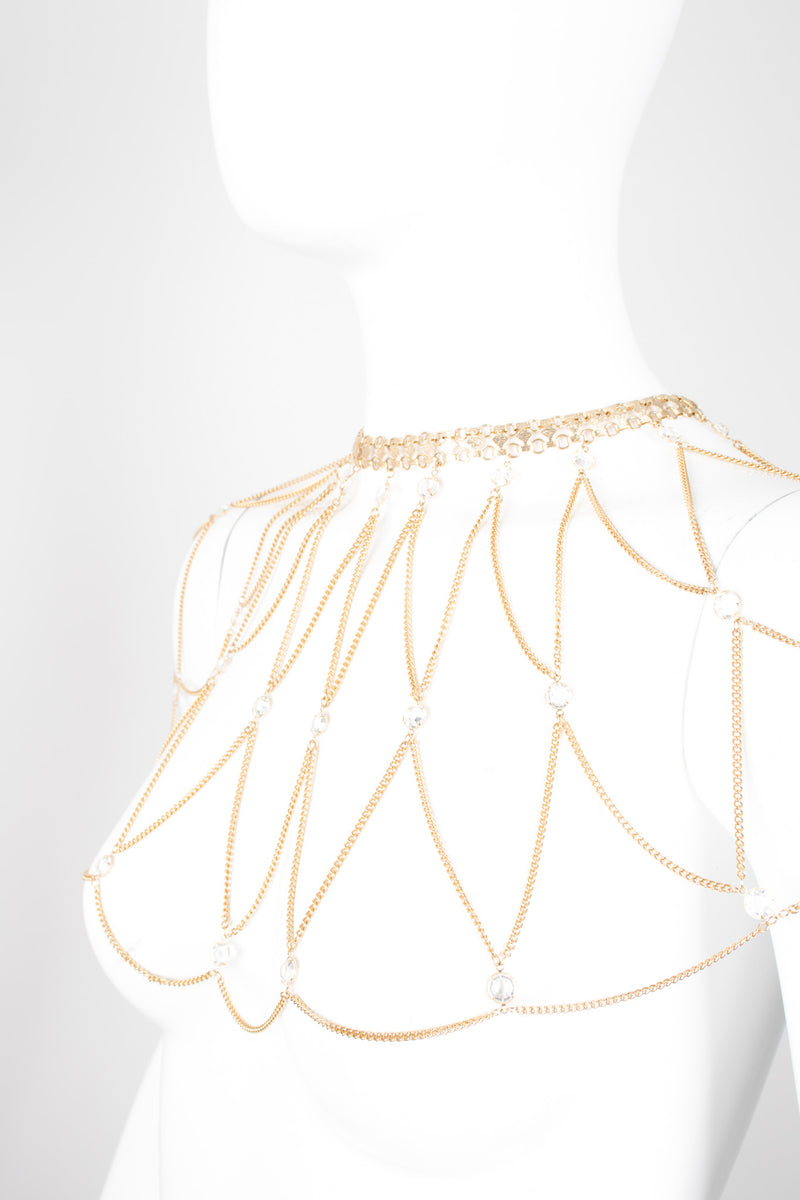 Vintage Crystal Body Chain Collar Wedding Capelet