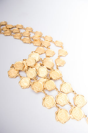 Karl Lagerfeld Triple Layer Gold Seal Stamp Necklace