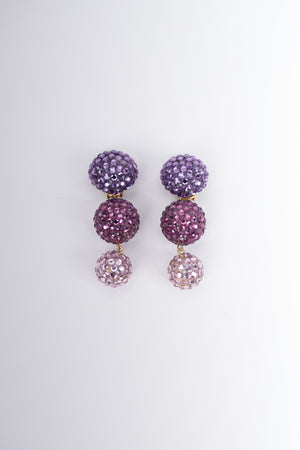 Richard Kerr Rhinestone Crystal Ombré Ball Drop Earrings