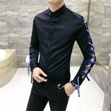Casual Long Sleeves Hollow & Slim Fit Men Shirt