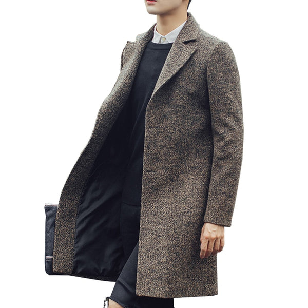 New Men Fashion Wool Long Trench Casual Outerwear Coats