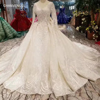 LSS486 high quality wedding dresses royal long train v-neck long sleeve shiny bride dress wedding gown 2019 new fashion design