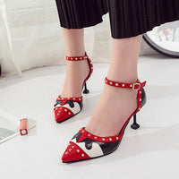 New Spring Women Rivet High Heels Comfortable Styles Slip Shallow Shoes
