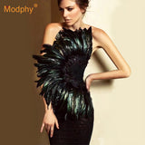 New Sexy Black Strapless Sleeveless Feather Celebrity Party Dress
