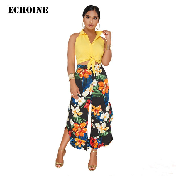 Ladies 2 Piece Set - Sleeveless Top & Flower Pants