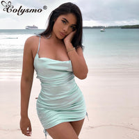 Women Spaghetti Straps Body-con Dress Slim Stretch Multi Wear Sexy Dress