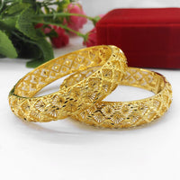 Hollow Bangle Yellow Gold Filled Dubai Bracelet perfect for Wedding Jewellery