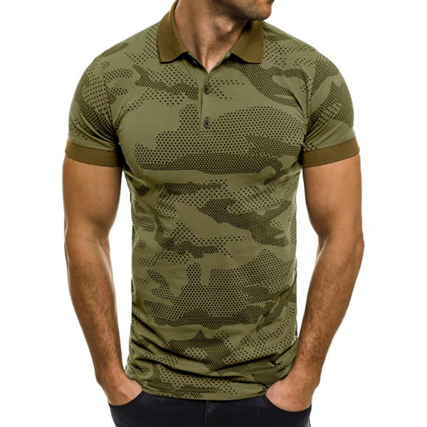 Collar Men Short Sleeve Pattern Casual Polo Shirt