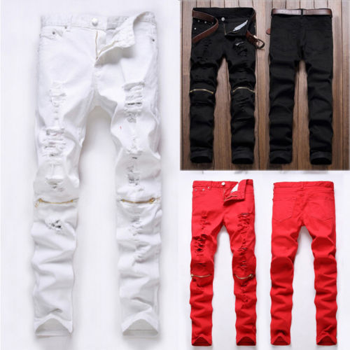 New fashion high street zipper knee men's jeans