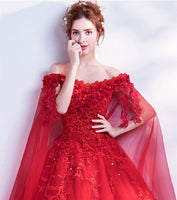 Wedding Wine Red Special Sleeves Boat Neck Off Shoulder Ball Gown Dress