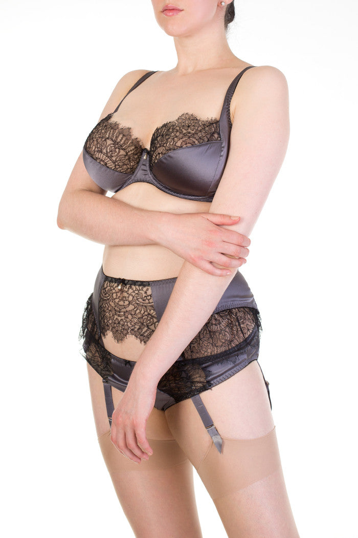 Eleanor Grey luxury silk full bust lingerie with pearl detail