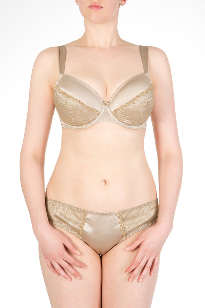 Ophelia gold lace and silk DD+ bra